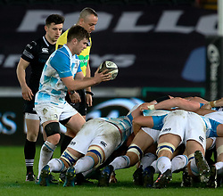 Leinster's Luke McGrath puts in to the scrum<br /> <br /> Photographer Simon King/Replay Images<br /> <br /> Guinness PRO14 Round 19 - Ospreys v Leinster - Saturday 24th March 2018 - Liberty Stadium - Swansea<br /> <br /> World Copyright © Replay Images . All rights reserved. info@replayimages.co.uk - http://replayimages.co.uk