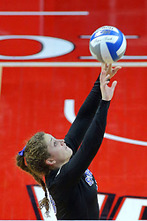 23 November 2017:  Rachel Griffin sets the ball during a college women's volleyball match between the Drake Bulldogs and the Indiana State Sycamores in the Missouri Valley Conference Tournament at Redbird Arena in Normal IL (Photo by Alan Look)