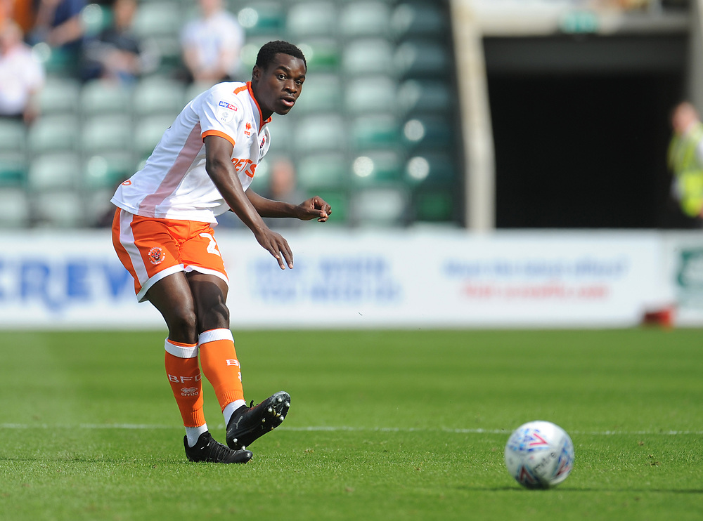 Blackpool's Marc Bola<br /> <br /> Photographer Kevin Barnes/CameraSport<br /> <br /> The EFL Sky Bet League One - Plymouth Argyle v Blackpool - Saturday 15th September 2018 - Home Park - Plymouth<br /> <br /> World Copyright © 2018 CameraSport. All rights reserved. 43 Linden Ave. Countesthorpe. Leicester. England. LE8 5PG - Tel: +44 (0) 116 277 4147 - admin@camerasport.com - www.camerasport.com