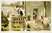 Dr Syntax showing young lady the stars with small refracting telescope typical of this date, while manservant trips over dog and falls headlong down steps. Rowlandson illustration for William Combe 'Tours of Dr Syntax', London, c1815. Aquatint.