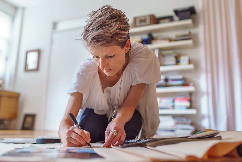 MANHATTAN, NY - MAY 17, 2015: Malia Mills drawing & sketching ideas on a large pad at her home in Manhattan. CREDIT: Emon Hassan for The New York Times
