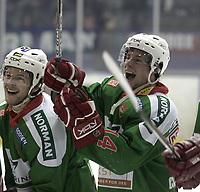 Ishockey<br /> GET-Ligaen<br /> 14.02.08<br /> Askerhallen<br /> Frisk Asker Tigers - Vålerenga VIF<br /> Cameron Abbott (t.h.) jubler<br /> Foto - Kasper Wikestad