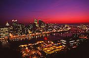 Pittsburgh, PA, Skyline, from Mount Washington, Pre-Sunrise, Red Sky, Night Lights, Monongahela River,