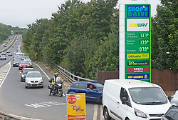 © Licensed to London News Pictures 25/09/2021.<br /> Swanley, UK, Motorists queuing for petrol on the A20 bypass in Swanley, Kent. BP has started to ration petrol and diesel due to a shortage of truckers. Photo credit:Grant Falvey/LNP