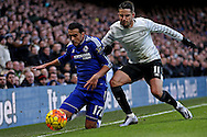 Kevin Mirallas of Everton pushes Pedro of Chelsea to the ground. Barclays Premier league match, Chelsea v Everton at Stamford Bridge in London on Saturday 16th January 2016.<br /> pic by John Patrick Fletcher, Andrew Orchard sports photography.