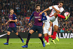 October 20, 2018 - Barcelona, Catalonia, Spain - Ben Yedder and Gerard Pique during the match between FC Barcelona and Sevilla CF, corresponding to the week 9 of the Liga Santander, played at the Camp Nou, on 20th October 2018, in Barcelona, Spain. (Credit Image: © Joan Valls/NurPhoto via ZUMA Press)