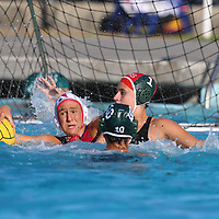 (Photograph by Bill Gerth for SVCN) Saratoga #4 Sarak Daoudi and Homestead #1 Tori Zelinski battle in a SCVAL Girls Water Polo match at Homestead High School, Sunnyvale CA on 10/20/16.  (Homestead 3 Saratoga 2)