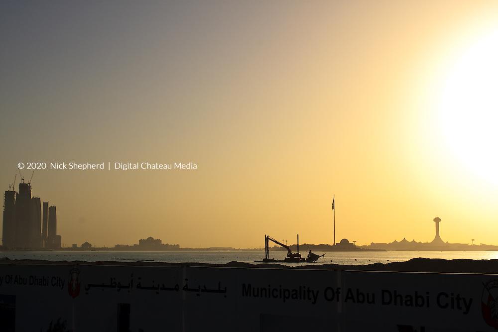 Cityscape of Abu Dhabi sunset