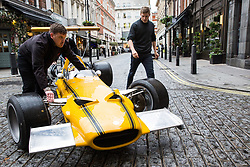 London, UK. 29th November, 2018. Auctioneers Bonhams move a 1969 Cooper-Chevrolet T90 Formula A/5000 Racing Single-Seater in preparation for an auction of historic and high-performance racing and road cars. Highlights include a Le Mans class-winning Jaguar XJ220C driven by David Coulthard (£2,200,000-2,800,000), a Lister Jaguar Knobbly (£2,200,000-2,800,000) and a 1958 BMW 507 owned by its designer, as well as Ferraris, Aston Martins, Bentleys, Porsches and Jaguars. Bonhams, founded in 1793, is one of the world's largest and most renowned auctioneers of fine art and antiques, motor cars and jewellery.
