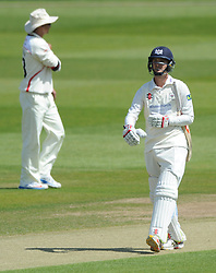 Gareth Roderick of Gloucestershire cuts a dejected figure as he is caught by Paul Norton for 0  - Photo mandatory by-line: Dougie Allward/JMP - Mobile: 07966 386802 - 08/06/2015 - SPORT - Football - Bristol - County Ground - Gloucestershire Cricket v Lancashire Cricket Day 2 - LV= County Championship