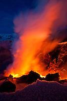 Eldgosið á Fimmvörðuhálsi 26. mars 2010. Gosið hófst aðfaranótt 21. mars 2010. Gosið er norðarlega í Fimmvörðuhálsi, rétt austan við Eyjafjallajökul. Gos þetta flokkast sem hraungos. Hraunrennslið úr gossprungunni hefur myndað hraunfoss sem lekur niður í gil í grennd við gossprunguna...Volcanic eruption at Fimmvorduhals 26th of March 2010. The eruption started 21st of March. It's located in the northen part of Fimmvorduhals, east of Glacier Eyjafjallajokull. The lava flowing from the fissure formes a lava-waterfall or lavafall when it flows down a gorge close to the eruption.