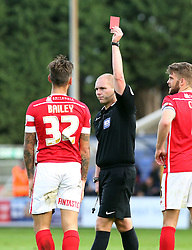 Barnsley's James Bailey is sent-off for a foul on Peterborough United's Marcus Maddison - Photo mandatory by-line: Joe Dent/JMP - Mobile: 07966 386802 - 18/10/2014 - SPORT - Football - Peterborough - London Road Stadium - Peterborough United v Barnsley - Sky Bet League One