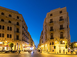 Night view of old colonial restored buildings in Place d'Etoile Downtown Beirut, Lebanon