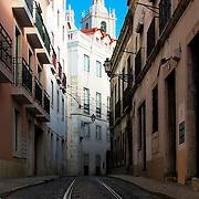 Tramline of narrow street at Alfama