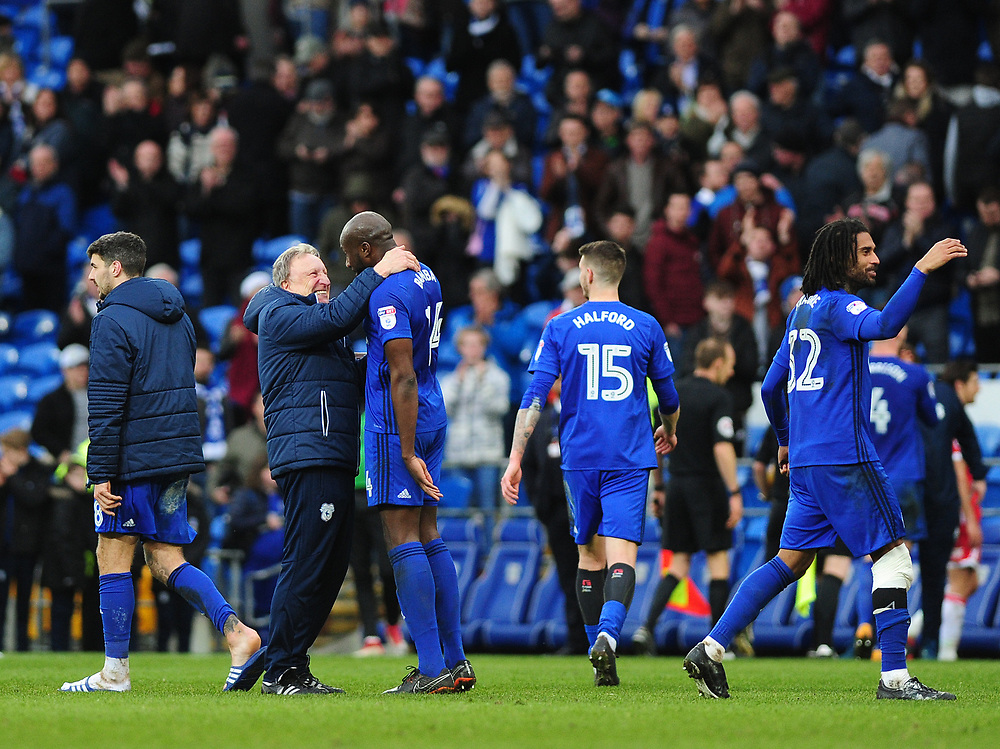 Cardiff City manager Neil Warnock celebrates with Cardiff City's Souleymane Bamba at full time <br /> <br /> Photographer Ashley Crowden/CameraSport<br /> <br /> The EFL Sky Bet Championship - Cardiff City v Middlesbrough - Saturday 17th February 2018 - Cardiff City Stadium - Cardiff<br /> <br /> World Copyright © 2018 CameraSport. All rights reserved. 43 Linden Ave. Countesthorpe. Leicester. England. LE8 5PG - Tel: +44 (0) 116 277 4147 - admin@camerasport.com - www.camerasport.com