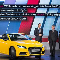 Viktor Orban (R) prime minister of Hungary and Rupert Stadler (2nd R) Chairman of the Board of Audi Management stand in front of the first Audi TT Roadster after it is introduced during the official production launch event in the Audi factory in Gyor (about 120 km West of Budapest), Hungary on November 05, 2014. ATTILA VOLGYI