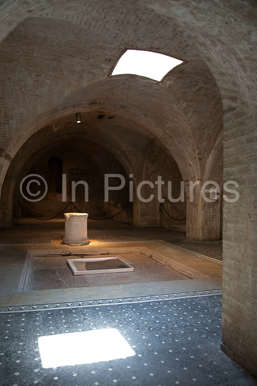 Casa Romana in Spoleto, Umbria, Italy. This is a restored Roman house with mosaic floors, indicating it was built in the 1st century, and overlooked the Forum Square. An inscription by Polla to Emperor Caligula suggests the house was that of Vespasia Polla, the mother of Emperor Vespasian.
