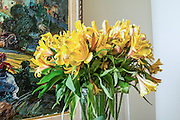 Yellow flower arrangement in a home