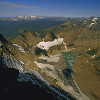 Grinnel Glacier retreats above lake it completely covered in 1938.