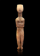 Female Cycladic statue figurine with folded arms of the Spedos and Dokathismata type. Early Cycladic Period II (2800-3200) from Naxos. National Archaeological Museum, Athens. Black background.<br /> <br /> This Cycladic statue figurine is of the Spedos type standing on tip tie with bended knees and arms folded under the breasts with head raiised. .<br /> <br /> If you prefer to buy from our ALAMY PHOTO LIBRARY  Collection visit : https://www.alamy.com/portfolio/paul-williams-funkystock/cycladic-art-artefacts.html Type into the LOWER SEARCH WITHIN GALLERY box to refine search by adding background colour, place, museum etc<br /> <br /> Visit our CYCLADIC CIVILISATIONS PHOTO COLLECTIONS for more photos to download or buy as wall art prints https://funkystock.photoshelter.com/gallery-collection/Cycladic-civilisation-Ancient-Greek-Artefacts-art-Photos-Pictures-Images/C0000CmevVvnC.XU