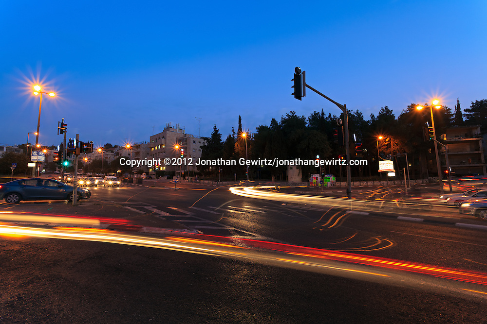 Evening traffic in Jerusalem at the intersection of Herzog Street, Sderot Haim Hazaz and Tchernichovsky Street. WATERMARKS WILL NOT APPEAR ON PRINTS OR LICENSED IMAGES.