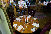 The Star Inn's restaurant is ready for guests in Harome, Yorkshire, England, United Kingdom.