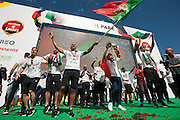 The Portuguese football players speaking to the crowd of portuguese supporters at Alameda Dom Afonso Henriques, in Lisbon. Portugal's national squad won the Euro Cup the day before, beating in the final France, the organizing country of the European Football Championship, in a match that ended 1-0 after extra-time.