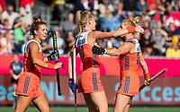 ANTWERPEN -  Caia Van Maasakker (Ned) heeft gescoord en viert het met Frederique Matla (Ned) en Margot Van Geffen (Ned) de  hockeywedstrijd  dames, Nederland-Spanje (1-1),   bij het Europees kampioenschap hockey.   COPYRIGHT KOEN SUYK