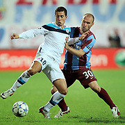 Trabzonspor's Serkan BALCI (R) and Lille's Eden HAZARD (L) during their UEFA Champions League group stage matchday 2 soccer match Trabzonspor between Lille at the Avni Aker Stadium at Trabzon Turkey on Tuesday, 27 September 2011. Photo by TURKPIX