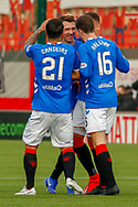 Ryan Jack celebrates with his Rangers team mates following his goal during the Ladbrokes Scottish Premiership match between Hamilton Academical FC and Rangers at The Hope CBD Stadium, Hamilton, Scotland on 24 February 2019.