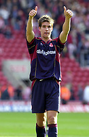 Photo: Greig Cowie, Digitalsport<br /> 27/09/2003.<br /> FA Barclaycard Premiership. Southampton v Middlesbrough, The St Marys Stadium.<br /> Chris Riggott gives the away supporters and a clean sheet the big thumbs up