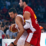 Turkey's Hidayet TURKOGLU (L) during their Istanbul CUP 2011match played Montenegro between Turkey at Abdi Ipekci Arena in Istanbul, Turkey on 25 August 2011. Photo by TURKPIX