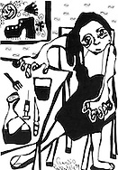 Illustration in pen and ink of woman with sad expression, syringe and knife on table