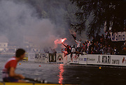 """Bled, Slovenia, YUGOSLAVIA.    general View of the Rowing Course, spectators with """"Flares""""  used for the 1989 World Rowing Championships, Lake Bled. [Mandatory Credit. Peter Spurrier/Intersport Images]"""