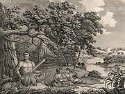 A Family in Dusk Bay, New Zealand'.  The Maori people are native to New Zealand which was visited by Cook on all three of his voyages. James Cook (1728-1779) British navigator, explorer and cartographer. Engraving from 'Captain Cook's Original Voyages Round the World' (Woodbridge, Suffolk, c1815).