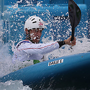 Etienne Daille, France, in action during the Kayak Single (K1) Men Final during the Canoe Slalom competition at Lee Valley White Water Centre during the London 2012 Olympic games. London, UK. 1st August 2012. Photo Tim Clayton