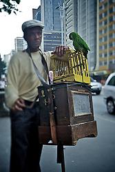 Seu Luiz Carlos do realejo tira a sorte das pessoas com a ajuda do papagaio Cristina, no centro de São Paulo. FOTO: Jefferson Bernardes/Preview.com