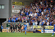 Portsmouth players celebrate Portsmouth forward Oliver Hawkins (9) goal in front of their fans during the EFL Sky Bet League 1 match between Peterborough United and Portsmouth at London Road, Peterborough, England on 15 September 2018.