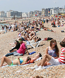 © Licensed to London News Pictures. 16/07/2014. Brighton, UK. Sunbathers pack  Brighton beach at lunchtime. Temperatures in parts of the south east are expected to hit 30 degrees this week. Photo credit : Hugo Michiels/LNP