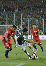 August 31, 2017 - Santiago, Santiago, Chile - Santiago Chile August 31, 2017. The Chilean Soccer Team Vs Paraguay faces a qualifying match for the 2014 World Cup Qualifiers. Chilean National Team Player Gary Medel (L) Displays the Ball against the Paraguayan National Team Player Miguel Almiron (R) encounter played in the National Stadium where Chile lost by 3 - 0 against Paraguay. Santiago Chile 31 August 2017. LUISVARGAS / ZUMAPRESS - (TAGS - SPORTS - FOOTBALL - FIFA CLASSIFICATION DATES - RUSSIA WORLD 2018 - CHILE VS PARAGUAY - SANTIAGO CHILE (Credit Image: © Luis Vargas via ZUMA Wire)