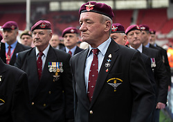 Military and ex-Military personnel attend the game between Middlesbrough and Wigan before the game