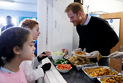 February 19, 2019 - London, London, United Kingdom - Image licensed to i-Images Picture Agency. 19/02/2019. London, United Kingdom.  Prince Harry, The Duke of Sussex,  at a Fit and Fed half-term initiative in London. The national Fit and Fed campaign aims to provide children and young people with free access to activity sessions and a nutritious lunch during school holidays. (Credit Image: © Pool/i-Images via ZUMA Press)