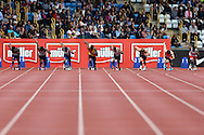 a View of Athletes as they start the Men's 100m Semi-Final race. The British Championships 2016, athletics event at the Alexander Stadium in Birmingham, Midlands  on Saturday 25th June 2016.<br /> pic by John Patrick Fletcher, Andrew Orchard sports photography.