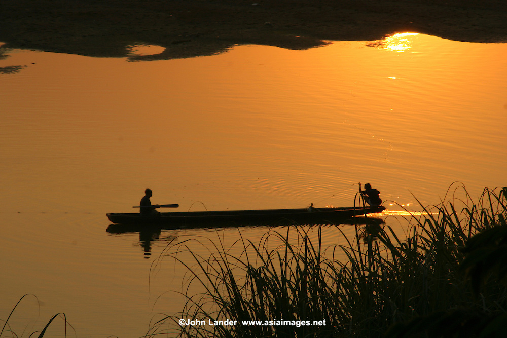 Mekong River Sunset - The Mekong's source comes from four thousand kilometers away from Tibet. More than a thousand species of fish have been identified in this body of water.