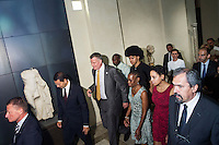 ROME, ITALY - 20 JULY 2014: (L-R) Mayor of Rome Ignazio Marino steps outside the Capitoline Museums with Mayor of New York  Bill De Blasio and his family shortly after a press conference with in Rome, Italy, on July 20th 2014.<br /> <br /> Bill de Blasio arrived in Italy with his family Sunday morning for an 8-day summer vacation that includes meetings with government officials and sightseeing in his ancestral homeland.