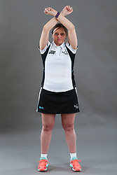 Umpire Rachael Radford signalling warning