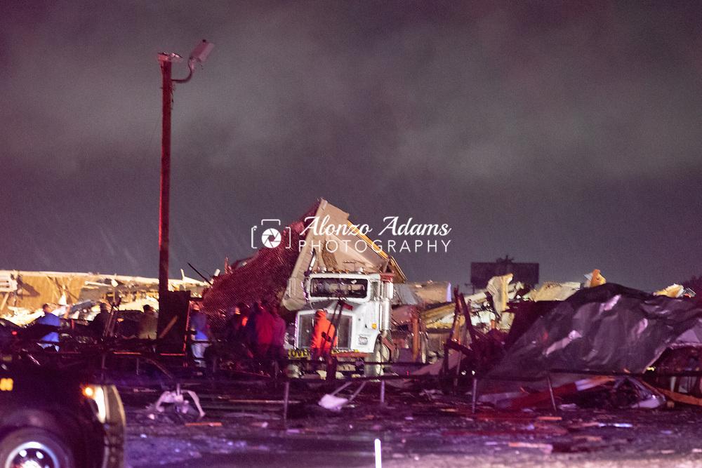 Tornado damage at the American Budget Value Inn in El Reno, Okla. on Sunday, May 26, 2019. Photo copyright © 2019 Alonzo J. Adams.
