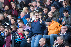 South stand fans. Falkirk 3 v 2 Hibernian, Scottish Premiership play-off final, played 13/5/2016 at The Falkirk Stadium.