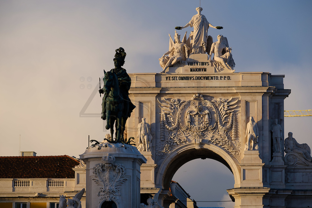 Terreiro do Paço, also know as Praça do Comércio (Commerce Square). This square is the largest in Lisbon and is located just by the river Tagus. From left to right can be seen Augusta Street Arch and the equestrian statue of King Joseph I.