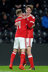 Nottingham Forest's Kieran Dowell celebrates scoring his side's first goal with team-mate Ben Osborn